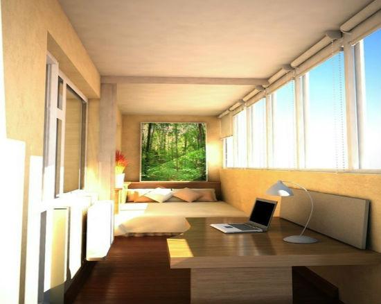 Переделка балкона в кабинет с зоной отдыха