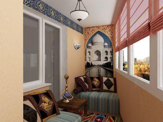 Дизайн интерьера балкона в восточном стиле