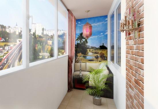 Балкон, оформленный в стиле лофт
