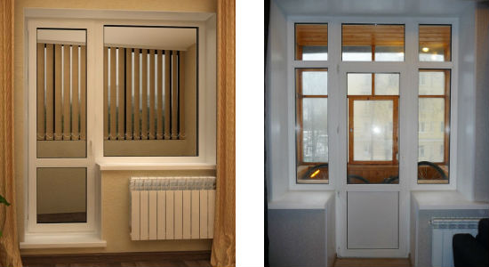 Двери для балкона или лоджии с открытой и закрытой филенкой