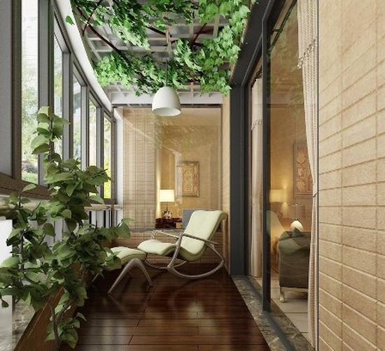 Балкон оформленный растениями