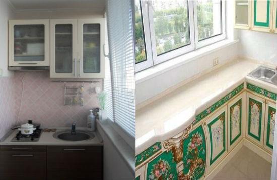 Пример встроеных кухонь на балконе