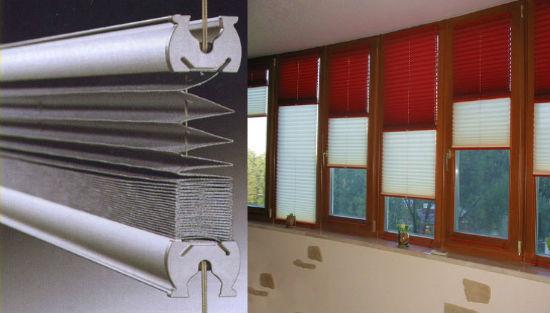 Двухцветные шторы плиссе на балконе