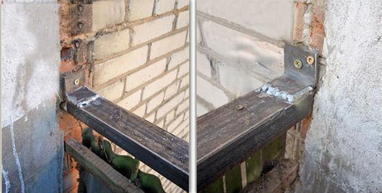 Пример укрепления парапета балкона