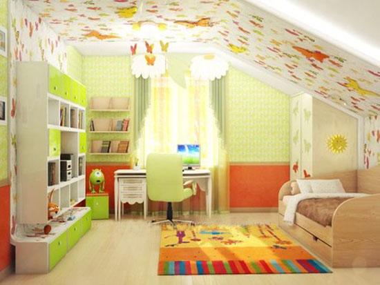 Расстановка мебели в детской на мансарде
