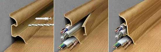 Крепление пластикового плинтуса с кабель каналом