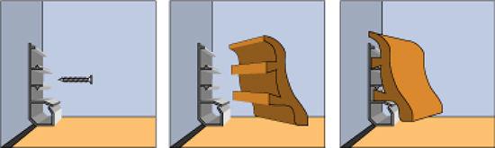Установка плинтуса с фиксирующей планкой