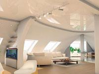 Натяжной потолок на мансарде загородного дома