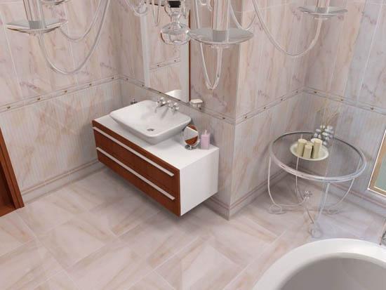 Плоский керамический плинтус для ванной
