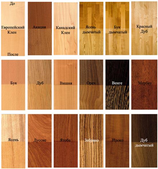 Оттенок древесины для плинтуса