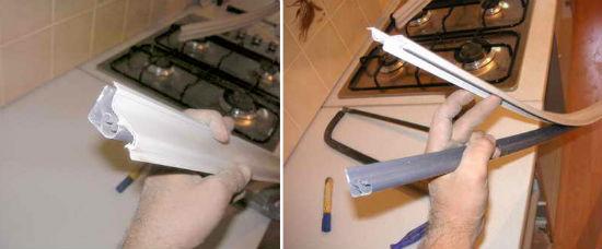 Снятие декоративной вставки кухонного плинтуса