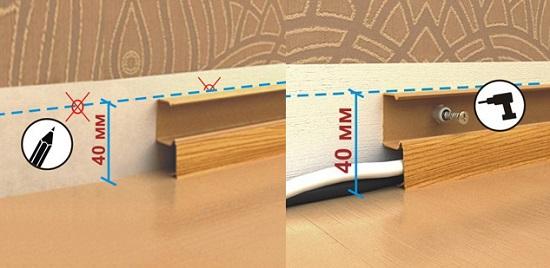 Монтаж напольного плинтуса с кабель каналом на саморезы
