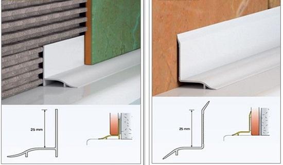 Виды монтажа плинтуса для ванны с плиткой