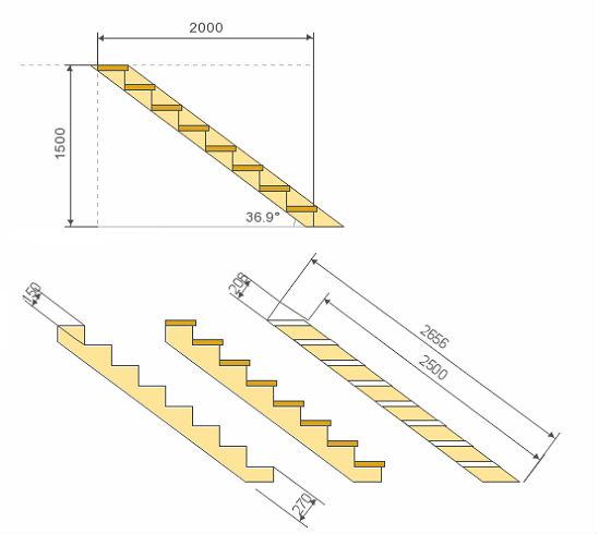 Чертеж с размерами лестницы для крыльца