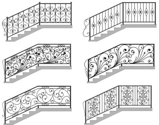 Дизайн кованых перил с узорами