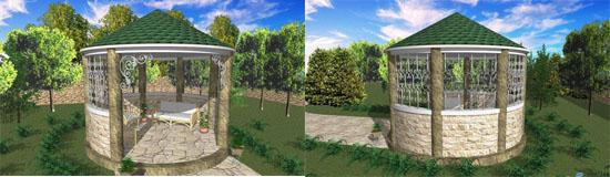 3D эскиз бетонной беседки