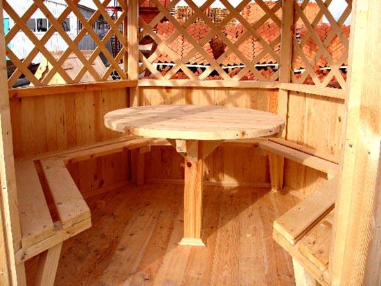 Круглый стол в многогранной беседке