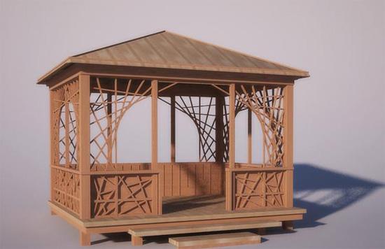 Деревянная беседка с шатровой крышей