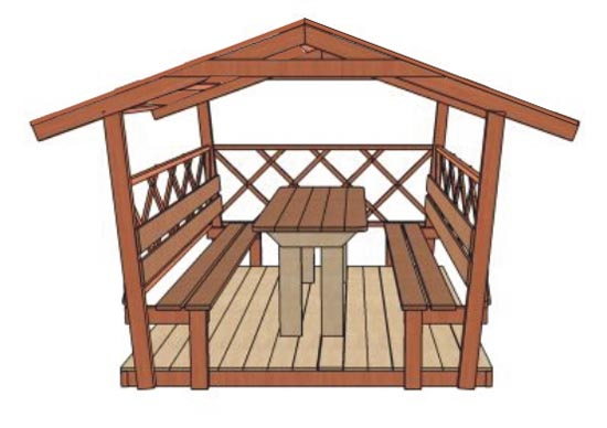 Прямоугольный стол в беседке