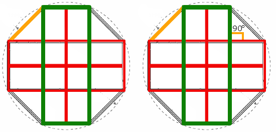 Стороны восьмигранной беседки на чертеже