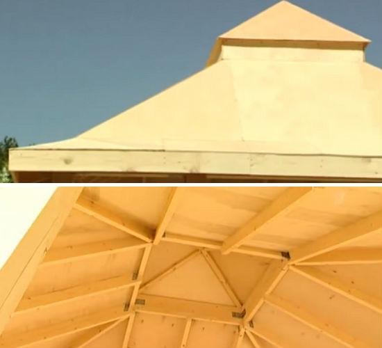 Крыша беседки под фанерой