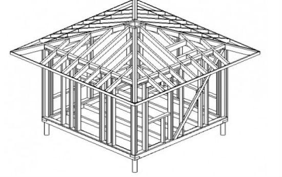 Беседка под четырехскатной крышей