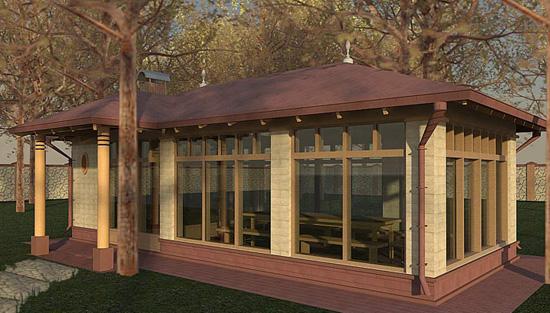 Проект беседки с деревянными окнами