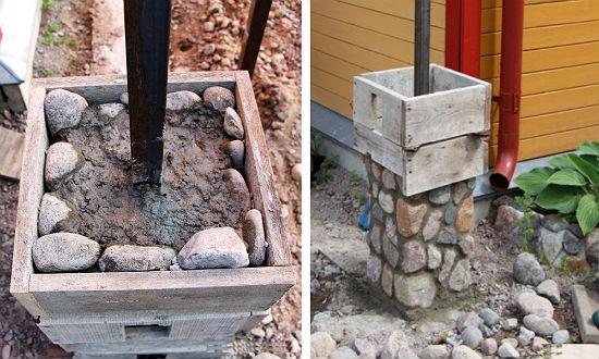 Поднятие каменных столбов беседки