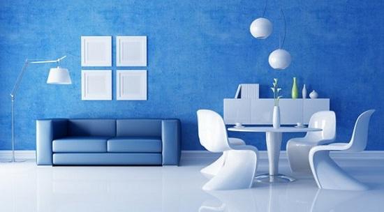 Яркий оттенок голубых обоев в стиле хай тек