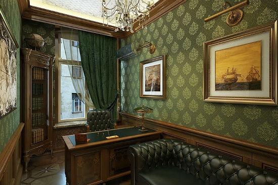 Золотисто-зеленые обои для кабинета в традиционном стиле