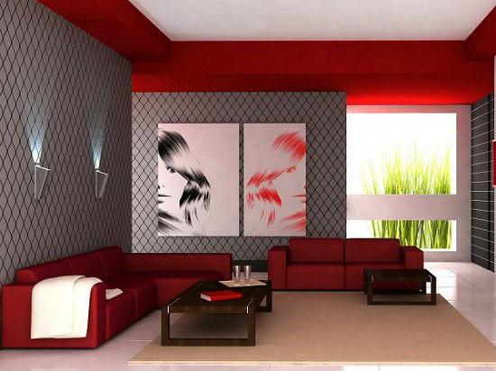 Серые обои с геометрическим рисунком в гостиной