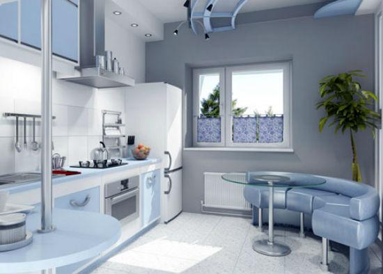 Серо-голубые обои в монохромной кухне