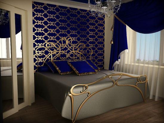 Темные сине-золотистые обои для спальни