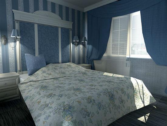 Сочетание двух видов обоев голубого цвета в дизайне спальни