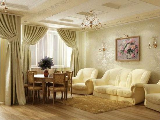 Золотистые обои под цвет штор в гостиной