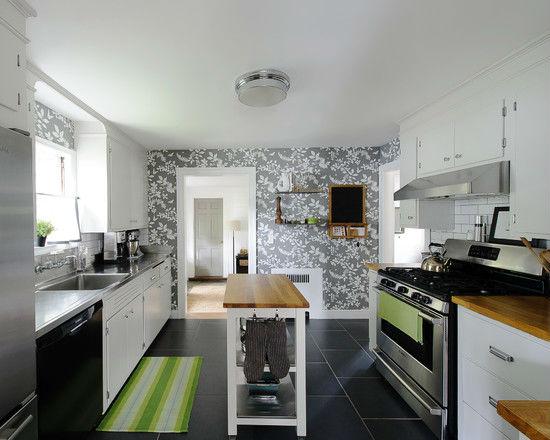Серые обои в кухне в стиле хай тек