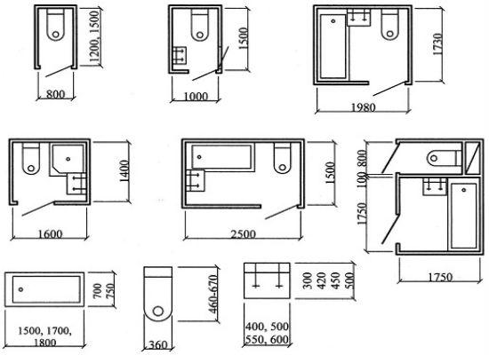 Размеры санузла в типовых домах