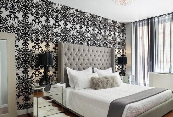 Монохромный стиль оформления спальни с черно-белыми обоями