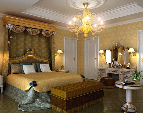 Изящная мебель и позолота в спальне ампир