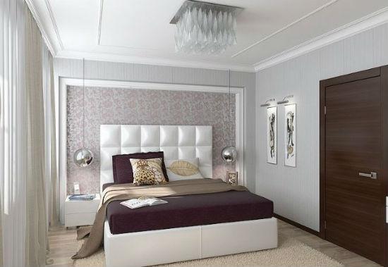 Небольшие современные светильники на стене спальни в хрущевке