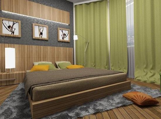 Длинные зеленые шторы для спальни в стиле эко