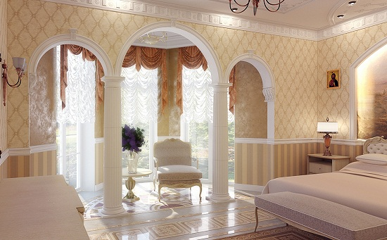 Обои с геометрическим рисунком в классическом стиле спальни