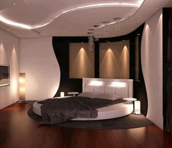 Многоярусный потолок в спальне модерн