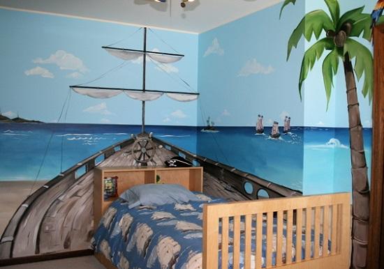 Фотообои в морском стиле для спальни