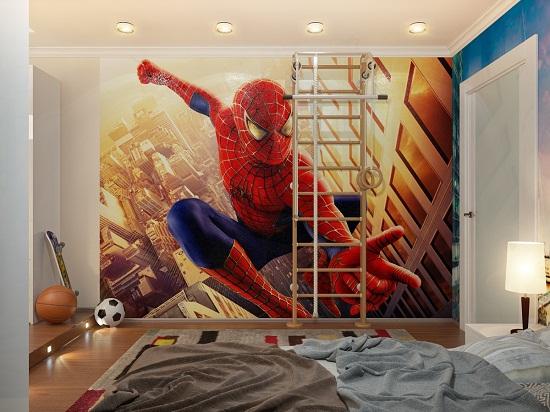 Обои с изображением героя мультфильма в спальне мальчика