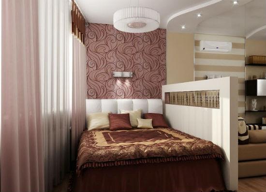 Зонирование пространства спальни-гостиной в хрущевке при помощи перегородки