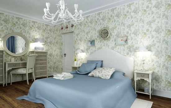 Обои с крупными цветами в отделке стен спальни