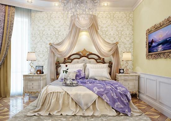 Дворцовые обои  в отделке спальни в классическом стиле