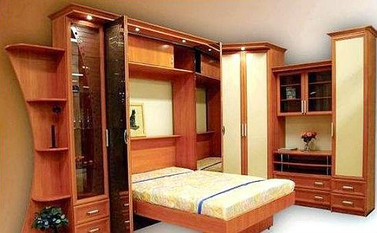 Мебель для спальни-гостиной в хрущевке с откидной кроватью