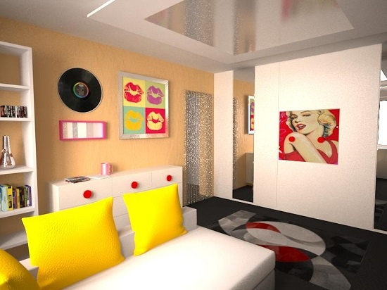 Яркая спальня в стиле поп арт